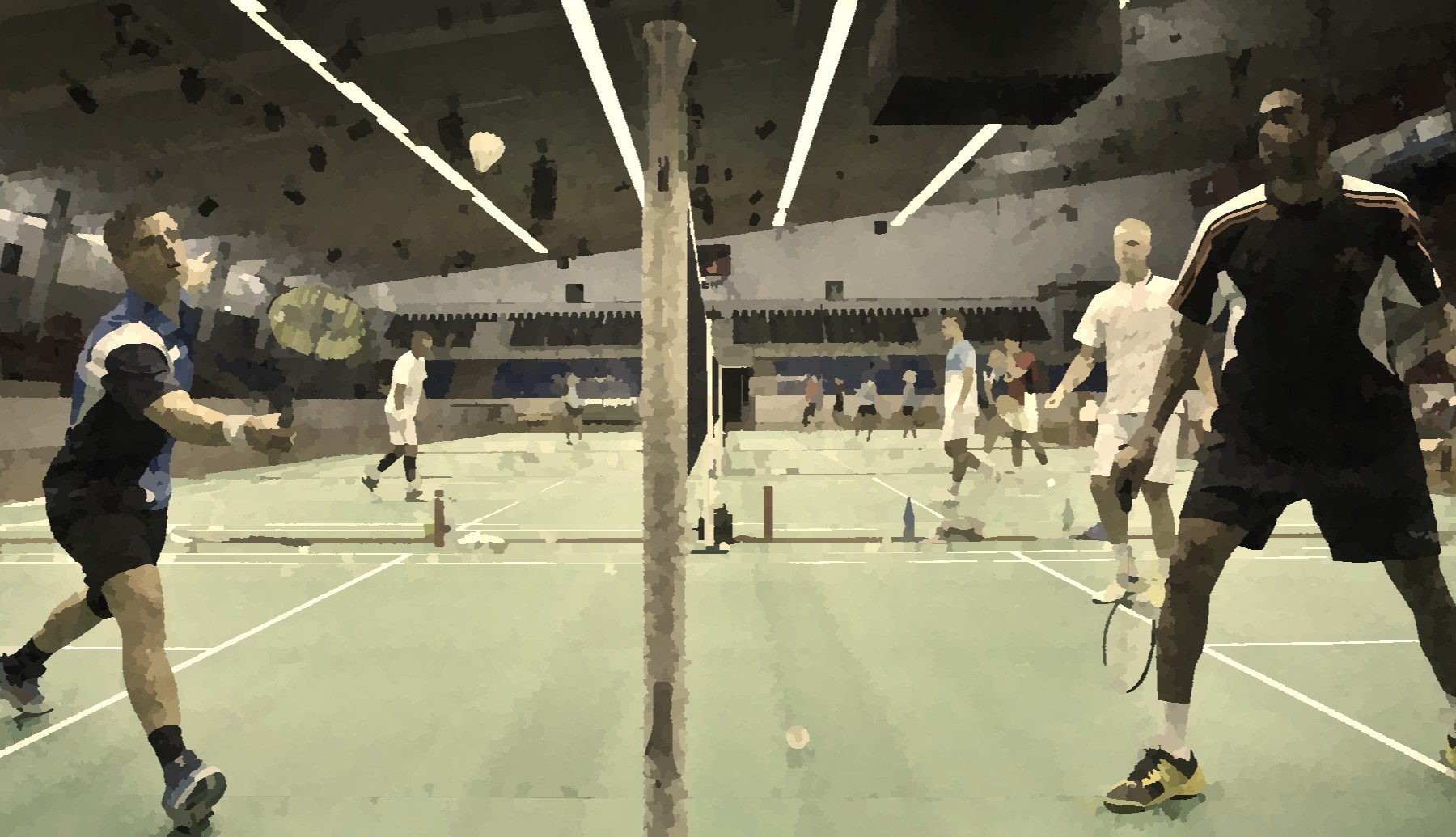 Badminton players on court