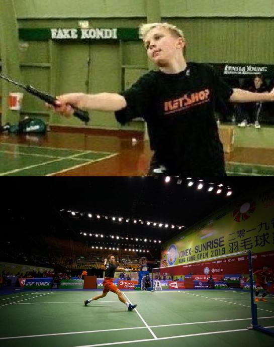 Viktor Axelsen as a child and as a badminton champion